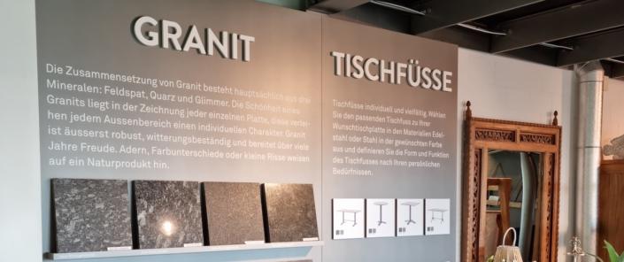 Ausstellungswand-Granit_Wagner-Schriften_Hunn-Gartenmoebel_Einzelanfertigung