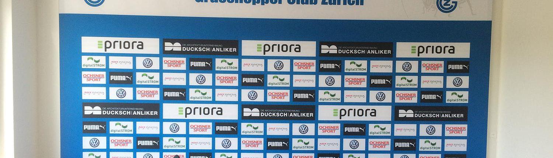 Wagner Schriften Eventwerbung Textilbilder Aluspannrahmen Referenz Fussballclub GC