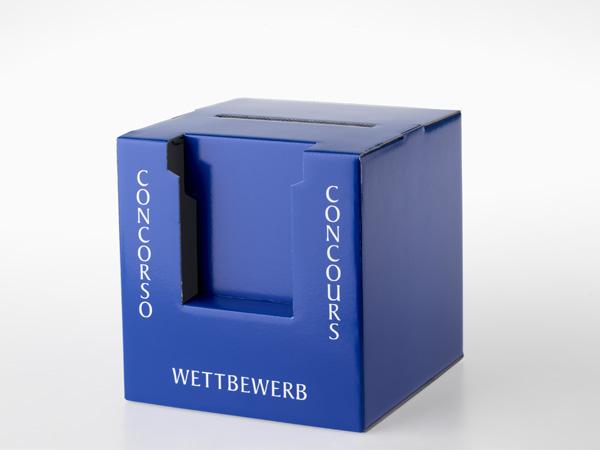 blaue Wettbewerbsurne dreisprachig